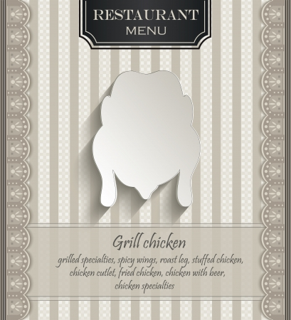 grill pattern: vector Menu restaurant lace natural paper 3D chicken