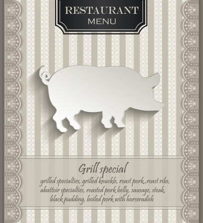 Menu restaurant lace natural paper 3D pig Vector