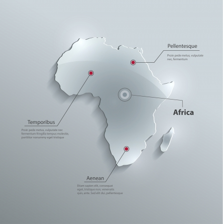 vector Africa map glass card paper 3D Vector