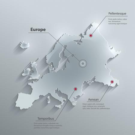 유럽: 벡터 유럽지도 유리 카드 종이 3D