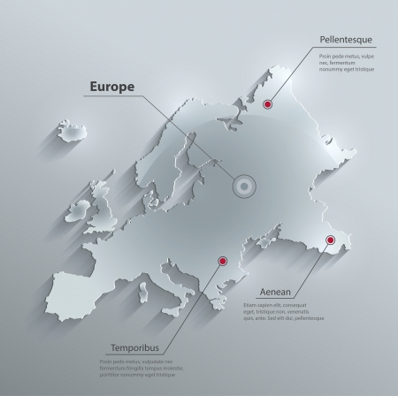 vector Europe map glass card paper 3D Vector