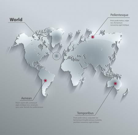 world: vecteur carte du monde carte papier de verre 3D Illustration