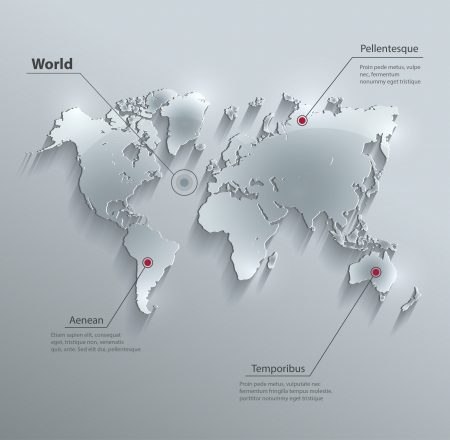 vector World map glass card paper 3D Vectores