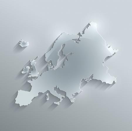 raster Europe map glass card paper 3D Foto de archivo