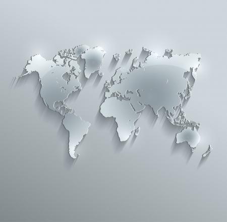 raster world map glass card paper 3D