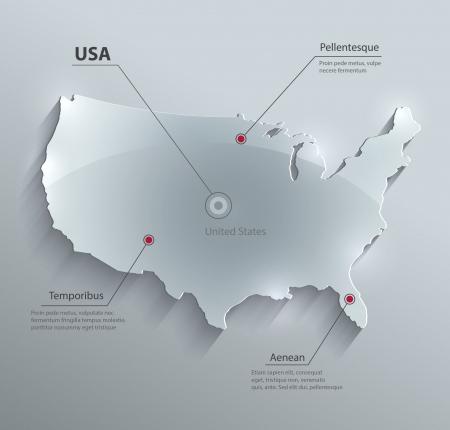 carte: USA vecteur carte verre de papier de carte 3d Amérique États-Unis