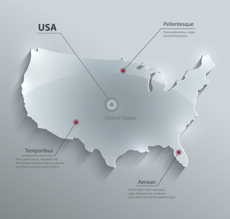 usa map: vector USA map glass card paper 3D america united states