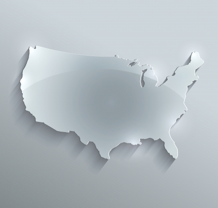 map of usa: raster USA map glass card paper 3D america united states Stock Photo