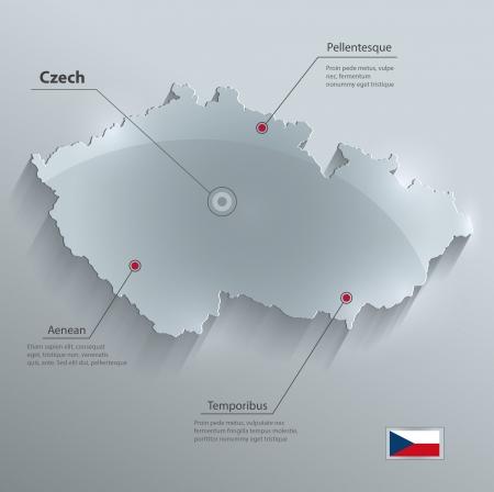 vector Tsjechië kaart glas kaart papier 3D