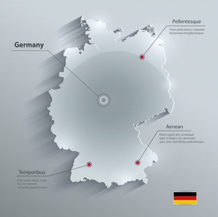 Germany map glass card paper 3D vector Illustration
