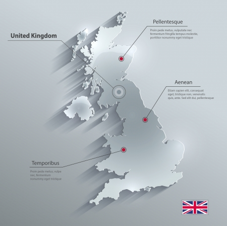 Great Britain United Kingdom map glass card paper 3D vector