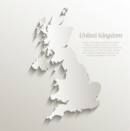 Great Britain United Kingdom map card paper 3D natural vector