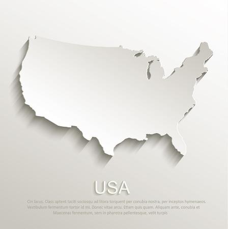 USA map card paper 3D natural vector