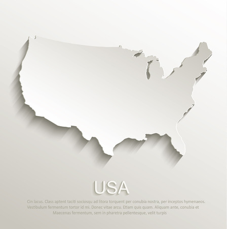 usa map: USA map card paper 3D natural vector