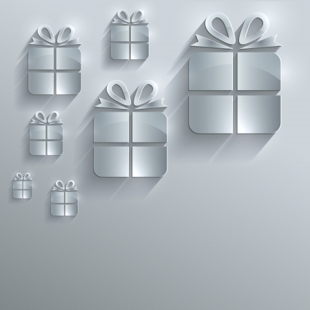 papery: Christmas gift glass card paper 3D raster