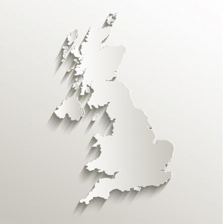 イギリス地図カード紙 3 D 自然ラスター