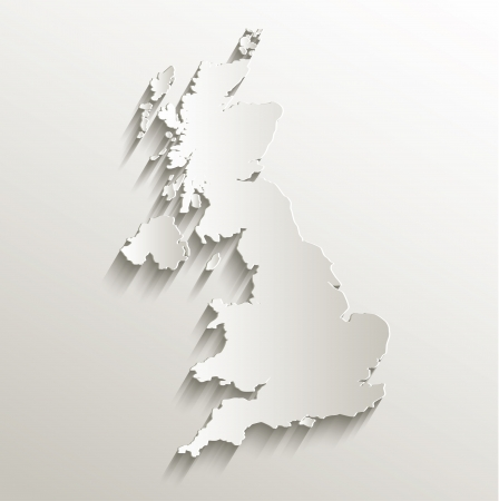United Kingdom map card paper 3D natural raster Stock Photo