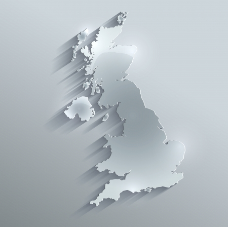 outline blue: Great Britain United Kingdom map glass card paper 3D raster