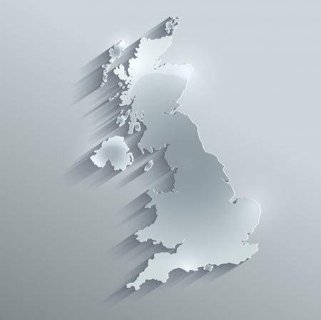 Groot-Brittannië Verenigd Koninkrijk kaart glas kaart papier 3D-raster