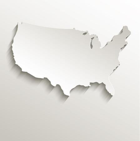 USA map card paper 3D natural raster Stockfoto