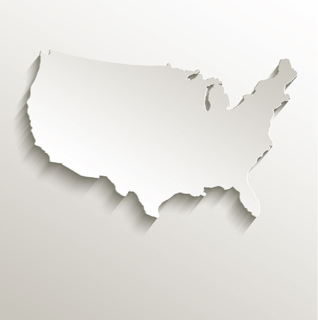 USA map card paper 3D natural raster Stock Photo