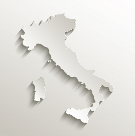 world map outline: Italy map card paper 3D natural raster Stock Photo