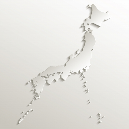 papery: Japan map card paper 3D natural raster Stock Photo
