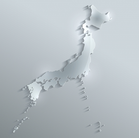 papery: Japan map glass card paper 3D raster Stock Photo