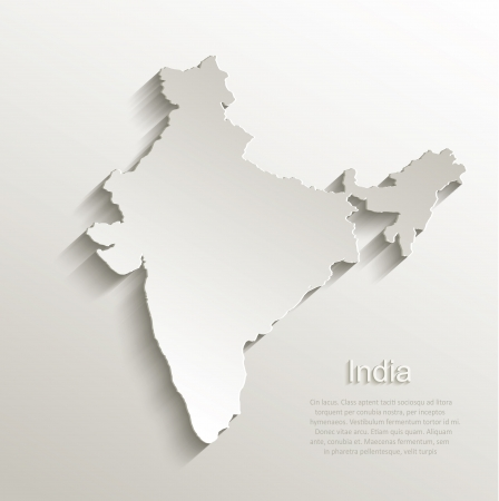 India map card paper 3D natural vector Ilustrace