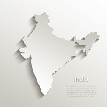 indie: Vector natural de la India Mapa de la tarjeta de papel 3D