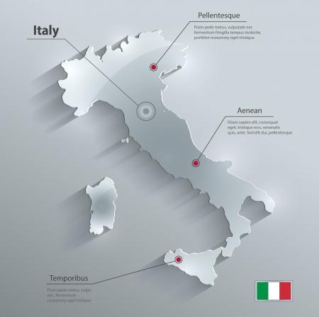 Italië kaart glas kaart papier 3D vector Stockfoto - 24018898