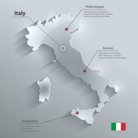 Italy map glass card paper 3D vector