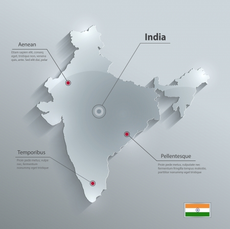 India map glass card paper 3D vector Vector