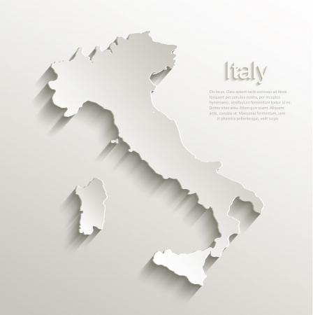 italy map: Italy map card paper 3D natural vector