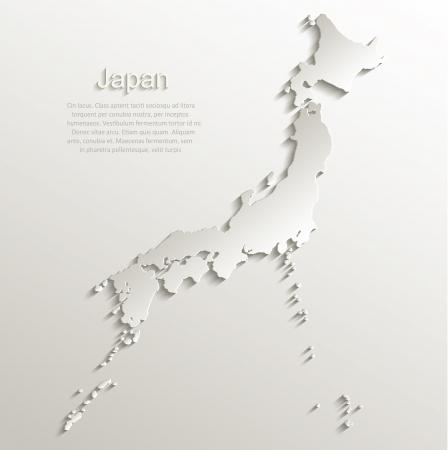Japan map card paper 3D natural vector