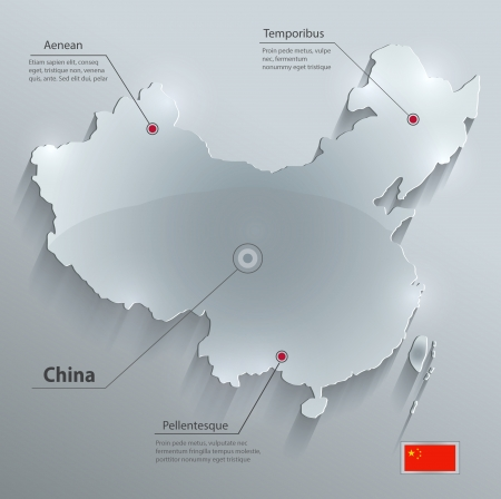 China map glass card paper 3D vector