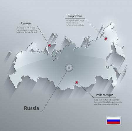지도: 러시아지도 유리 카드 종이 3D 벡터