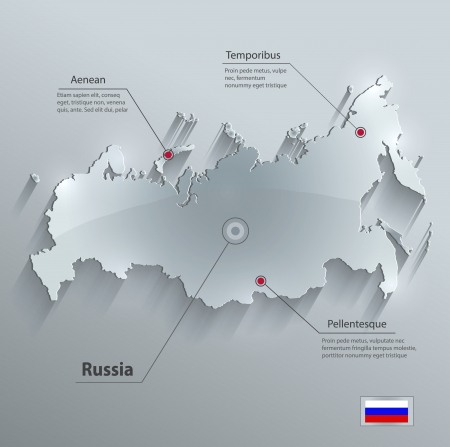 Russia map glass card paper 3D vector Vectores