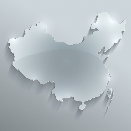 china map: China map glass card paper 3D raster