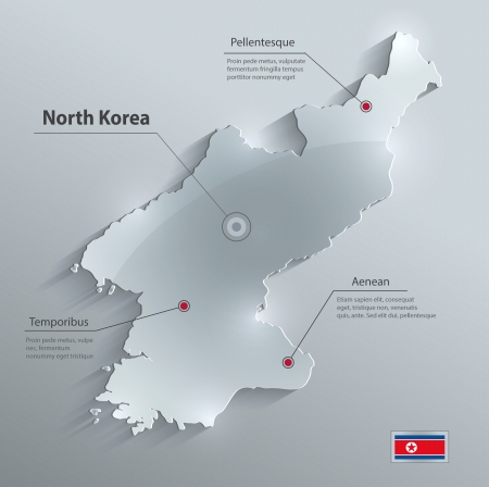North Korea glass card paper 3D vector Illustration