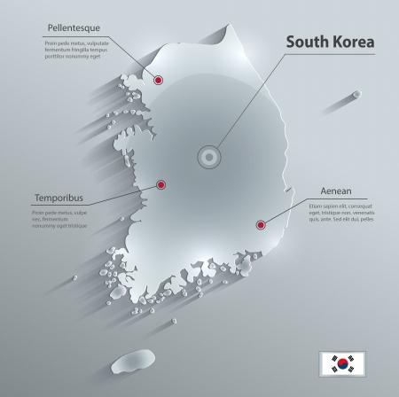 South Korea glass card paper 3D vector