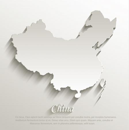 China map card paper 3D natural vector