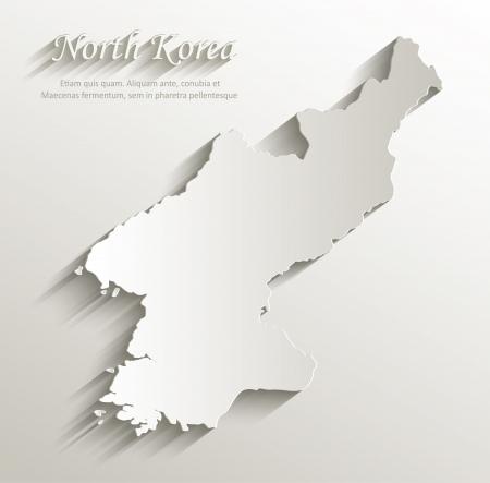North Korea map card paper 3D natural vector Vector