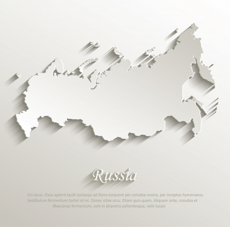 Russia map card paper 3D natural vector Vector