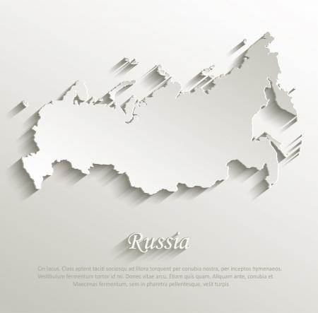 Russia map card paper 3D natural vector Vectores