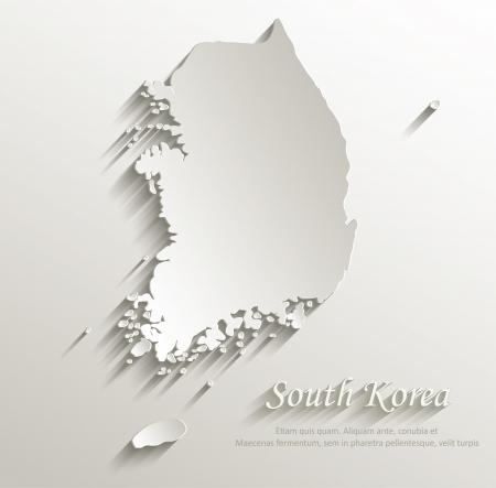 South Korea map card paper 3D natural vector Vectores