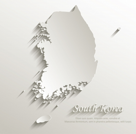 South Korea map card paper 3D natural vector Иллюстрация