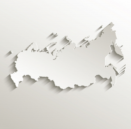 Russia map card paper 3D natural raster