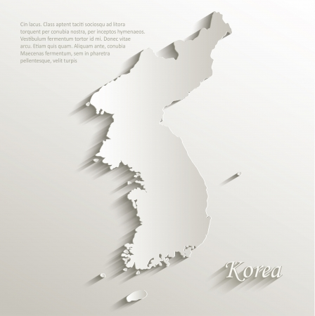 Korea map card paper 3D natural vector Vector