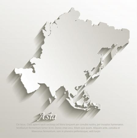 Azië kaart kaart papier 3D natuurlijke vector Stockfoto - 24027494